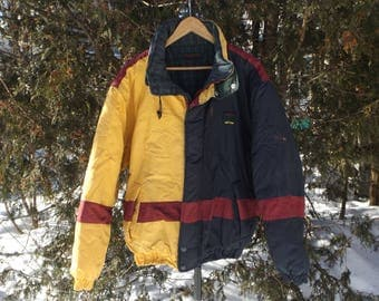 Vintage Winter Jacket Bomber Warm Daniel David Size Large to XL Vintage Parka 90s Colorblock Mustard Yellow Maroon 90s Oversized DISCOUNTED