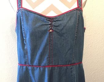 Vintage 90's denim romper/short denim dress/denim tank top jumper/90's denim dress