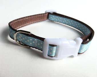 Brown & Blue Polka Dot Dog Collar - Small