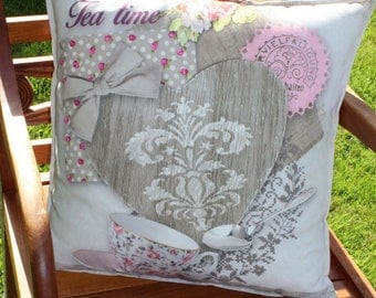 TEA TIME heart pink and grey pillow cover No. 3