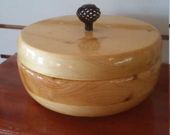 "bowl with lid, 8"" wooden"