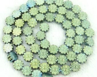 3 beads HEMATITE flower carved round green 7 x 3 MM.