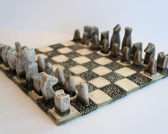 MADE TO ORDER - Handmade Ceramic Chess Set - organic, boardgames, natural, grey, black, white, minimal, chess pieces, stone chess set