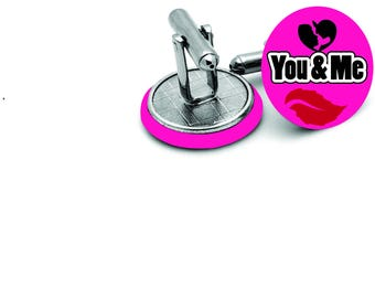 You and me  Mens   wedding  cufflinks