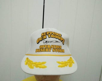 Rare Vintage OPERATION DESERT STORM Support Our Troops Spell Out Cap Hat Free size fit all