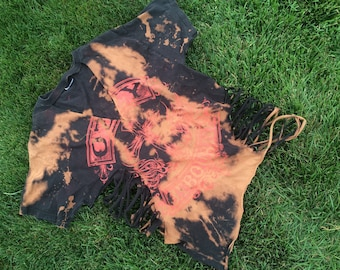 Vintage and reworked Ozzy Ozbourne bleached and shredded short sleeve band tee