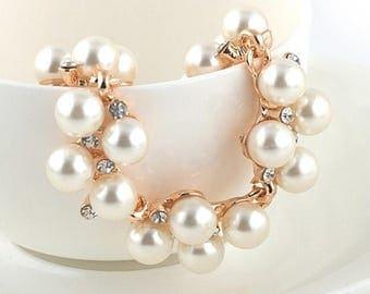 Chic pearls bracelet and rhinestones Version Vintage Chic