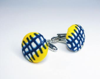 Yellow and Blue Cuff Links // African Print Cuff Links