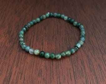 Moss Agate Healing Crystal Stacking Bracelet. Genuine Natural Stone Stretch Bracelet.