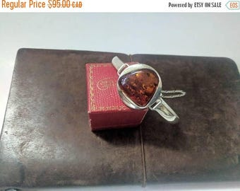 ON SALE Vintage Sterling Silver and Amber Bracelet