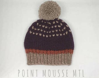 Baby knit hat, 100% Merino wool, wool baby hat, baby beanie, pompon baby hat, fairisle baby hat, pompon baby beanie // Hand knit in Canada
