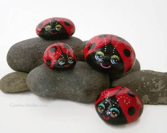 Painted rocks,lady bug,lady bird,bug rocks,red rocks,garden decor,big eyes,lady bug stone,small bug rocks,bug with dots,cute painted bugs