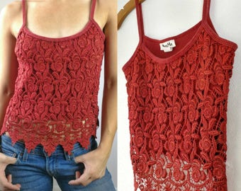 90s Vintage Bohemian Burnt Orange Lace Tank Size Large// Womens Tangerine Boho 1990s Delicate Vintage Lace Cotton Tank