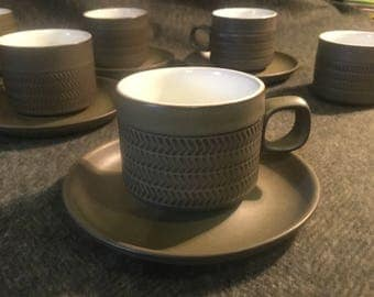 Six Denby pottery Chevron/Camelot cups and saucers with sugar bowl.
