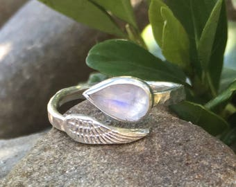 Moonstone Angel Wing Ring