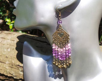 Chandelier Earrings, Purple Chandelier Earrings, Beaded Chandelier Earrings, Crystal Chandelier Earrings, Gypsy Chandelier Earrings