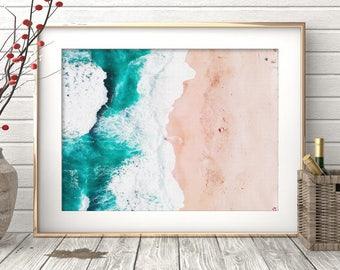 Beach Wall Art, Ocean Water Waves Photography, Coastal Print, Blue Pastel Decor, Modern Minimalist Large Poster, Printable Digital Download