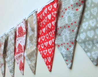 Christmas Bunting red and grey