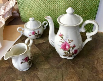 tea set, Child's, service for 5, White, fine, china, pink, green, floral,  gold rim, from 1964, teapot, creamer, sugar bowl, cups & saucers