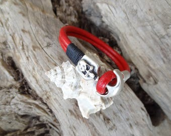 EXPRESS SHIPPING,Men's Red Leather Bracelet,Men's Jewelry,Skulls Bracelet,Men's Cuff Bracelet,Valentine's Gifts,Father's Day Gifts
