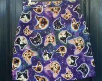 Galaxy Cat Skirt, women's skirt, ladies skirt, A-line, cat skirt