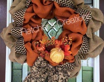 Large Fall Burlap Wreath