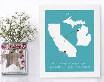 Going Away Banner Unique Long Distance Gift 2 Map Art Two Map Print Personalized State Country Distance Present Birthday Gifts Christmas