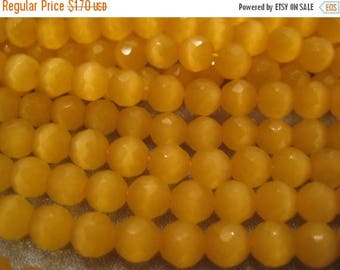 ON SALE 15% OFF Yellow Cat's Eye Faceted Round 6mm Beads 71pcs