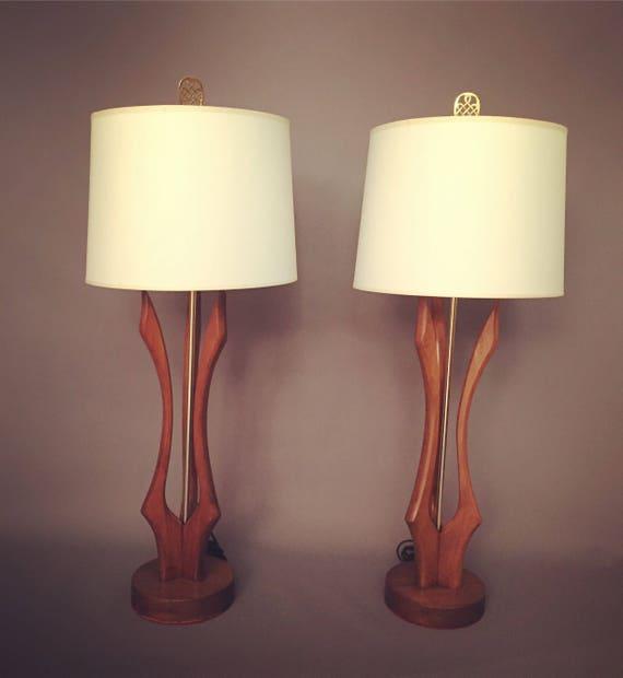 Mid-Century Pair Of Adrian Pearsall style teak Wood Lamps