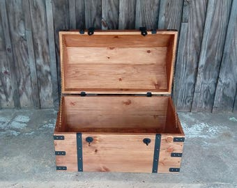 Treasure Chest, pirate chest, sea chest,nautical theme chest, rustic design blanket chest,navy chest,mermaid treasure ,rustic treasure chest