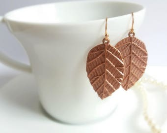 Leaf earrings, copper earrings, copper jewelry, rustic jewelry, rustic jewellery, rustic earrings, bridal earrings, bridesmaid jewelry