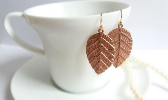 Rustic Copper Leaf Earrings