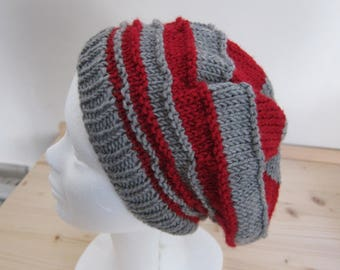 Red and grey woolen hat for women