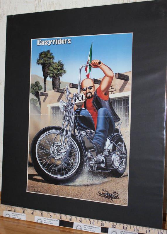 """David Mann """"Mexican Burnout"""" 16'' x 20'' Matted Biker Art #9701ezrxmb"""