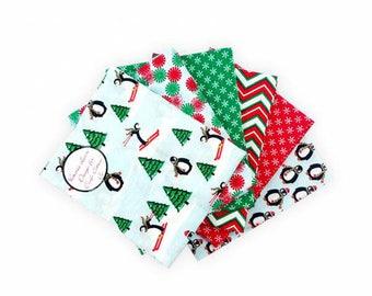 Fat Quarter Bundle, Christmas fabric, Xmas Craft Set, Christmas fat quarters, Christmas Quilting Fabric, Quilting Squares, Xmas Decorations