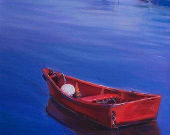 "Red Boat Original Oil Painting , Painted on Gallery Wraped 12""x12"" Canvas, Blue and Red Painting, Boat Art by Ezartesa"