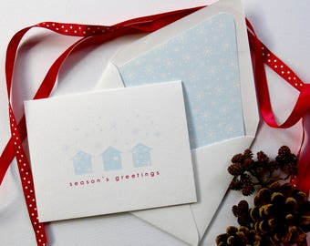 Real Estate Agent Holiday Card - Seasons Greetings - Houses with Snow Falling - Blue and Red