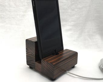 Redwood iphone dock, wood iphone charger, cell phone stand, charging stand, iphone 7, iphone 6, iphone 5, iphone SE, universal phone holder.