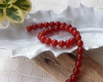 Set of 4 beautiful round 10 mm CARNELIAN natural stone beads
