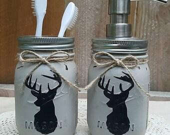 Rustic Bathroom Decor - Painted Mason Jars - Mason Jar- Shabby Chic - Country  - Soap/Lotion  Dispenser