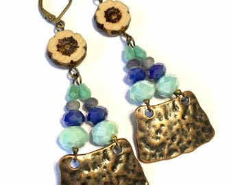 Chandelier Earrings blue green with antiqued brass