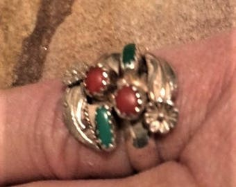 Old Pawn ZUNI Coral and Turquoise Adjustable Ring