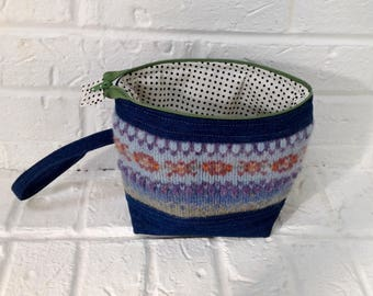 Zip Pouch, Cosmetics Bag, Project Bag, Makeup Pouch, Upcycled Sweater, Denim Pouch, Knitting Bag, Handmade Bag, Zippered Pouch, Sweater Bag