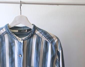 pinstripe denim button - up shirt