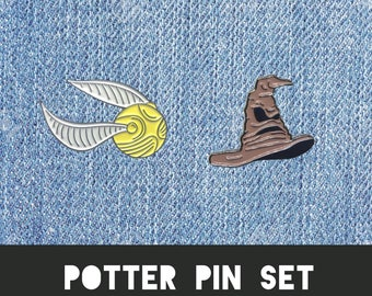 HARRY POTTER PIN set - Lapel Pin Glasses Bolt Thunder Lightning Fantastic beasts Gryffindor Badge Costume Hallows Dumbledore Gift