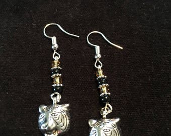 Tiger charm dangle earrings