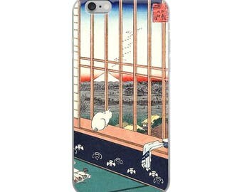Japanese cat iPhone case, pretty Hiroshige woodblock print, ideal for cat lovers