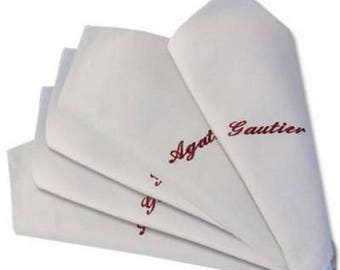 set of 50 napkins embroidered personalized with name