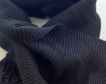 Black pleated black scarf with fringe