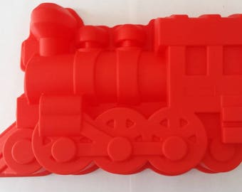 Train shaped red silicone mold